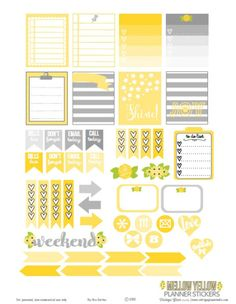 Mellow Yellow Planner Stickers Free Printable Download
