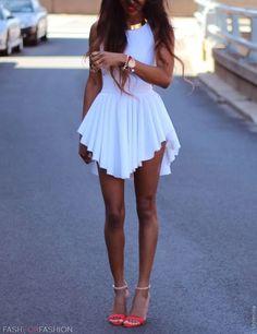 Sexy O Neck Tank Asymmetrical White Spandex Mini Dress<---I love the asymmetrical look! Cute Dresses, Beautiful Dresses, Short Dresses, Summer Dresses, Sexy Dresses, Dresses 2014, Gorgeous Dress, Mini Dresses, Cheap Dresses