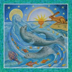 Domnu Summer Solstice Goddess by Wendy Andrew. Summer Solstice - circa 21st June  Mother of Water absorbs and reflects the rays of the sun as it climbs to   it's zenith in the sky. She offers the chalice of self discovery.  A time of great power.