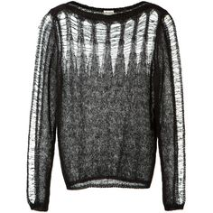 Saint Laurent Black Mohair And Wool Mix Openwork Pullover found on Polyvore featuring tops, sweaters, black pullover sweater, black sheer top, ripped sweater, boatneck sweater i sheer top