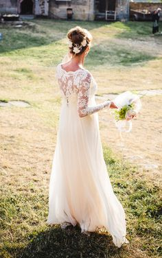 Long sleeve lace wedding dress with stunning silk slip via Etsy