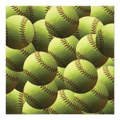Yellow Softball Wallpaper Photo Print