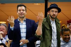 """Justin Timberlake Photos Photos - TV Personality Jimmy Fallon and singer and actor Justin Timberlake dance to """"Single Ladies""""  during the Men's Singles Quarterfinals match between Richard Gasquet of France and Roger Federer of Switzerland on Day Ten of the 2015 US Open at the USTA Billie Jean King National Tennis Center on September 9, 2015 in the Flushing neighborhood of the Queens borough of New York City. - 2015 U.S. Open - Day 10"""