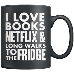 I love Netflix Long Walks to the Fridge Mug (3 Colors Available) (110 BRL) ❤ liked on Polyvore featuring home, kitchen & dining, drinkware, colored mugs, colored drinkware and coloured mugs
