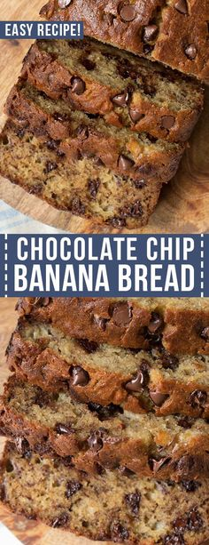 Easy Chocolate Chip Banana Bread is a classic recipe that yields the best banana bread. And it's loaded with chocolate chips to make this bread extra special. This recipe requires only 15 minutes of prep! 13 Desserts, Delicious Desserts, Dessert Recipes, Yummy Food, Chocolate Chip Bread, Chocolate Recipes, Chocolate Zucchini Bread, Banana Chocolate Chip Muffins, Easy Banana Bread
