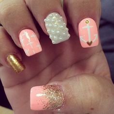 Pink, Gold Glitter with White Anchor, Cross, and Pearls Nail Art Design