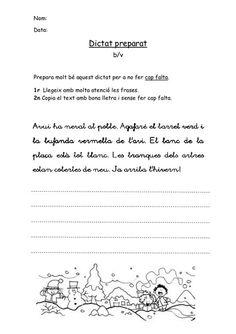Nom:Data: Dictat preparat b/vPrepara molt bé aquest dictat per a no fer . Catalan Language, Singular And Plural, Valencia, Fails, Nom Nom, Sheet Music, Teaching, School, Leo