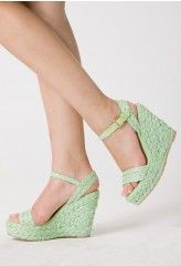 Mighty minty woven wedges.