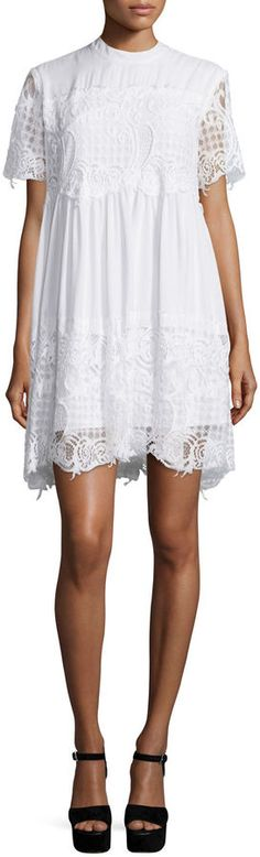 Kendall + Kylie Short-Sleeve Lace Babydoll Dress  - Click link for product details :)
