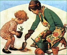 Mother and child in garden, vintage illustration