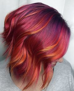 Simple Toning For a Dramatic Difference - Color - Modern Salon Bold Hair Color, Gorgeous Hair Color, Hair Color Auburn, Fire Hair Color, Red Ombre Hair, Purple Ombre, Red Purple, Creative Hair Color, Hair Affair