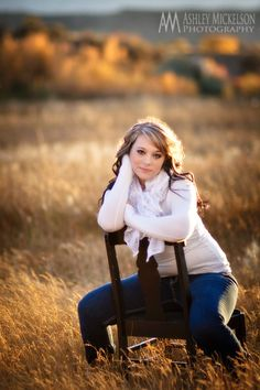 Very pretty senior picture. Always good to bring some fun props, like a cute chair!