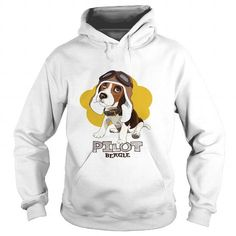 Puppy Beagle in a leather pilot hat on a yellow background Vector illustration