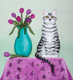 Spring Tulips and Cat Original Folk Art Painting by KilkennycatArt (Ryan Conners)