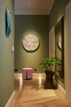 Brian Woulfe's Top Tips for Using Colour in the Home Olive green walls with mid oak flooring and a blush pink footstool Olive Green Bedrooms, Olive Green Walls, Bedroom Green, Bedroom Wall, Olive Green Decor, Living Room Green, Green Rooms, Hallway Wall Colors, Hallway Ideas