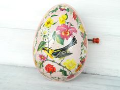 Vintage 1954 Tin Easter Egg Music Box by by alwaysmaybevintage