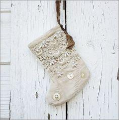 Beautiful embellished linen Christmas stocking