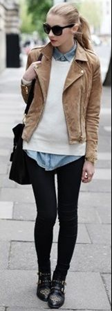 lady like sweater toughened up with black skinnies and a leather jacket