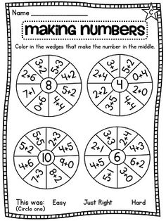 Decomposing numbers worksheets for all levels!! Differentiation made easy - awesome!