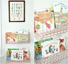 """Vintage wire baskets become """"book shelves""""  {The Lovely Cupboard}"""