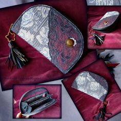 Handmade by Judy Majoros - Fringe wallet-clutch with rose decorations, and lace and leather fringe. Rose Decor, Fringe Bags, Bagan, Leather Fringe, Clutch Wallet, Louis Vuitton Monogram, Decorations, Lace, Pattern