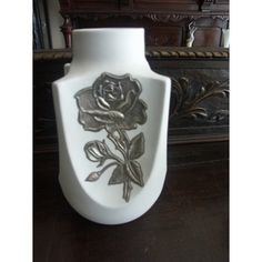 Vintage Limoges Vase συλλεκτικό με ασημένιο διάκοσμο τριαντάφυλλο  PS LIMOGES INLAID WITH PURE SILVER - STAMPED 1000 WITH STAMPED INITIALS