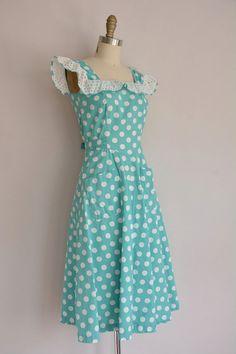 vintage 1940s dress / polka dot cotton dress by simplicityisbliss