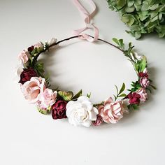 Blush pink Burgundy Dusty rose flower crown Burgundy Floral