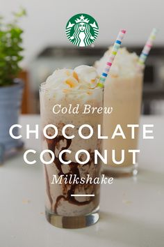 Milkshake recipe: Add ½ cups of Starbucks® Nariño 70 Cold Brew concentrate, 2 scoops of coconut Ice cream, and 2 Tablespoons of semi-sweet chocolate chips to a blender and mix until smooth. Top with whipped cream and toasted coconut and enjoy!