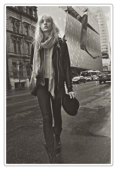 Cailin Hill by Oscar Correcher [ Cailin Hill (Ford) spends a day exploring in the East Village for Oscar Correcher's most recent portraits shot in black and white. Cailin evokes eighties style in a pork pie hat and leather jacket.]