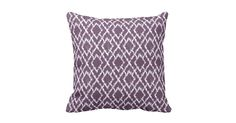 Plum Purple Tribal Print Ikat Geometric Diamond Pattern. Cool, trendy, modern, tribal print Ikat geometric pattern made with zigzag diamonds in plum purple denim fabric (digitized effect only). Customize it by adding your monogram, name, photos and/or text to create your own unique design!