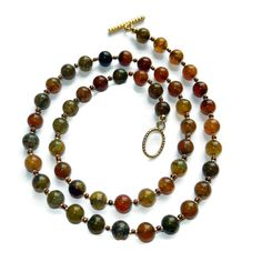 Earthy Mix Fire Crackle Agate Beaded Necklace by CloudNineDesignz, $21.50