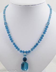 Swarovski Crystal Teal Drop Necklace with Shamballa Bead - Handmade - real crystals, indicolite colour