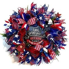 Patriotic Red, White, and Blue Deco Mesh 4th of July Wreath Front Door Wreath