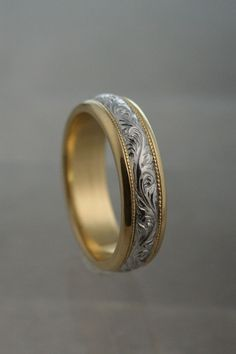 Custom Made Hand Engraved Scoll Wedding Band