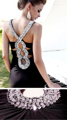 Sequins deepV black long evening dress #sexy #elegant