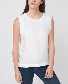 FAYLEE Sleeveless Linen Top In White