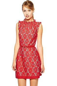 4bc833f5fd WOJUHOME Red High Neck Lace Skater Dress with Belt Red L    BEST VALUE BUY