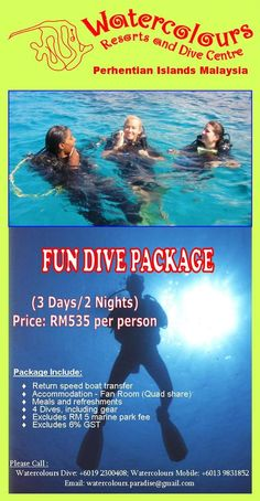 Fun Dive Package #WatercoloursResort #Pulau #Perhentian #Beautiful #Beach #Island #Resort #Travel #Vacation #Tours #Professional #Dive #Centre #Malaysia #Snorkeling #Corals #Fish #MarineLife #PADI #ScubaDive #DiveTrip #BoatDive #EcoConservation #Holiday #Family #TeamBuilding #Chalets #Impressedus #Hospitality #Discover #WanderLust
