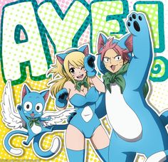 """Fairy Tail Anime - """"Aye!"""" - (Left To Right) Happy, Lucy, and Natsu"""