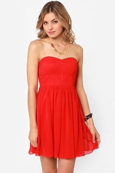 Celebrate-y Style Strapless Red Dress # #Red