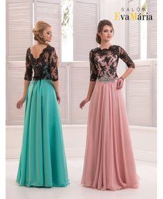 GARRISON - luxusné večerné šaty s čiernym čipkovaným zvrškom