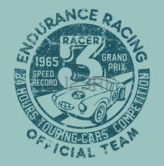 Endurance racing team artwork for children wear in custom colors grunge effect in separate layer Stock Vector