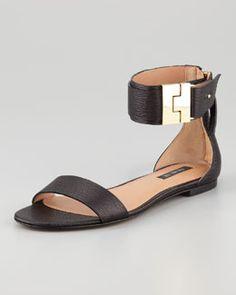 2216e1338d9 Rachel Zoe Glady s Leather Flat Sandal