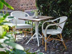 Sika-Design Affaire Gartenset Teakbistrotisch 70x70 cm mit Rattanstuhl Madeleine