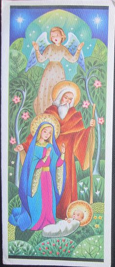 Vintage Christmas Greeting Card Christ Child and Mary, Joseph Angel