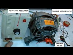 In this video we can learn how to wire a washing machine motor to work with AC or DC current. 6 cables come out from the motor. Electronic Circuit Projects, Electronics Projects, General Electric, Electrical Circuit Diagram, Electrical Wiring, Scamp Camper, Washing Machine Motor, Cable, Tech Hacks