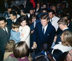 JFK, Jackie & John greeting guests after Black Watch event, Nov 13, 1963