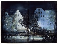 Lars Lerin at the Nordic Watercolor Museum. Watercolor Landscape, Watercolor And Ink, Landscape Paintings, Watercolor Paintings, Watercolours, Nocturne, Night Scenery, City Landscape, New Art