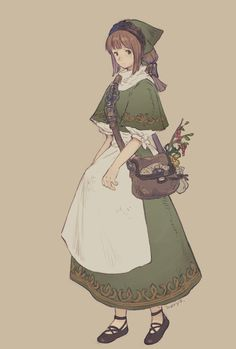 A humble and sweet country look Fantasy Character Design, Character Creation, Character Design Inspiration, Character Concept, Character Art, Concept Art, Dnd Characters, Fantasy Characters, Pretty Art